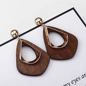 3/35 Hot Brown Wooden Geometric Dangle Earrings